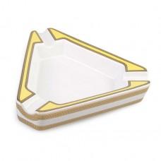 Cinzeiro de Cerâmica para 3 Charutos - Branco e Amarelo