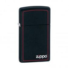 Isqueiro Zippo Slim Preto Fosco com Logo 1618 ZB
