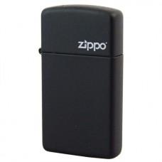 Isqueiro Zippo Slim Preto Fosco com Logo 1618 ZL